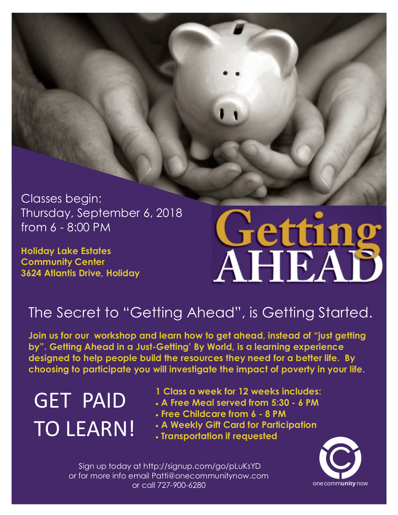 Getting Ahead Fall 2018 @ Holiday Lake Estates Community Center